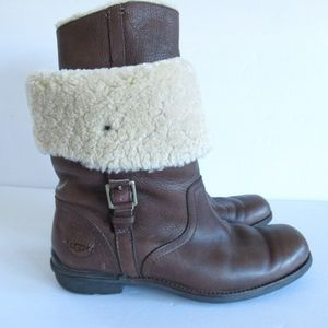 UGG Bellvue Boots Leather Shearling Buckle Moto
